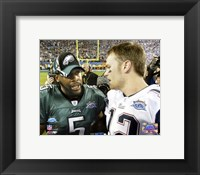 Framed Tom Brady & Donovan McNabb - Super Bowl XXXIX - talk after game
