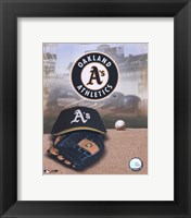 Framed Oakland Athletics - '05 Logo / Cap and Glove