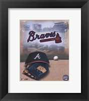Framed Atlanta Braves - '05 Logo / Cap and Glove