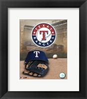 Framed Texas Rangers - '05 Logo / Cap and Glove