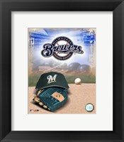 Framed Milwaukee Brewers - '05 Logo / Cap and Glove