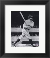Framed Babe Ruth - Batting Action On The Field