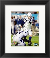 Framed Adam Vinatieri Super Bowl XLI Action (#6)