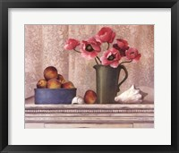 Framed Poppies, Peaches And Shells