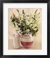 Framed White Flowers In Vase With Bottle