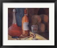 Framed Wine Bottle With Glass
