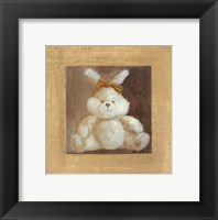 Framed White Bunny With Yellow Bow