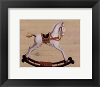 White Rocking Horse Framed Print