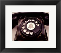 Framed Telephone With Red Flowers