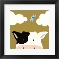Peek-A-Boo III Cow Framed Print