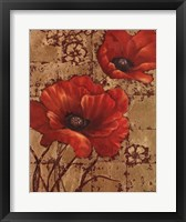 Framed Poppies on Gold I