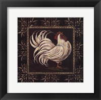 Framed Black & White Rooster I