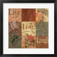 Framed Shabby Chic 9 patchLive Laugh Love