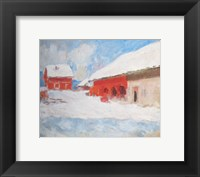 Framed Les maisons rouges a Bjoernegaard, Norvege, 1895