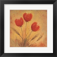Framed Orange Tulips and Wheat