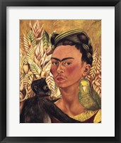 Framed Self-Portrait with Monkey and Parrot, 1942