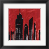 Red Cityscape Framed Print