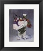 Framed Flowers in a Crystal Vase - white