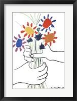 Framed Mains Aux Fleurs