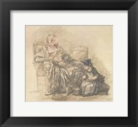 Framed Reading Woman with Child