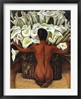 Framed Nude with Calla Lilies