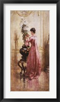 Framed Woman with Chrysanthemums