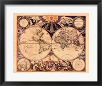 Framed New World Map, 1676