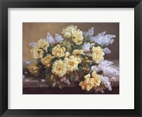Framed Still Life of Yellow Roses with Lilacs