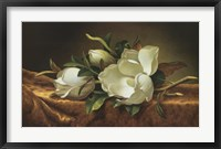 Framed Magnolias on Gold Velvet Cloth