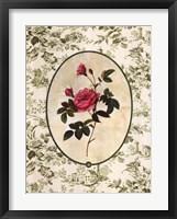 Framed Toile Rose II