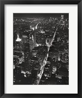 Night View of Lower Manhattan Framed Print