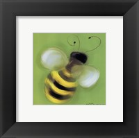 Bee On Green Framed Print