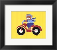 Bear on Motorcycle Framed Print