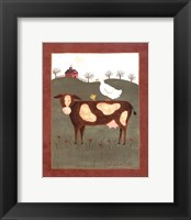 Cow with Duck Framed Print