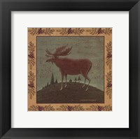 Folk Moose Framed Print
