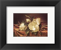 Framed Magnolia On Gold Velvet Cloth