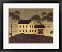 House with Quilt Framed Print