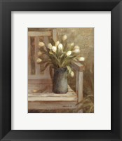 Framed Tulip Bouquet on Bench