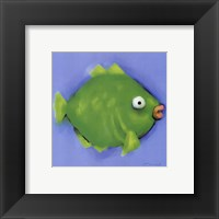 Framed Green Pucker Fish