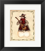 Framed Snowman Playing Mandolin