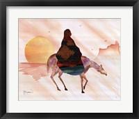 Framed On Horse At Sunrise