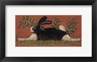 Framed Red Folk Bunny