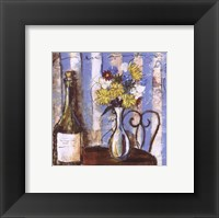 Framed Wine and Flowers I