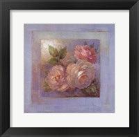 Roses on Blue II Framed Print