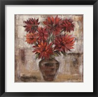 Framed Dahlia's In Bronze Vase