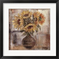 Framed Sunflowers In Bronze Vase