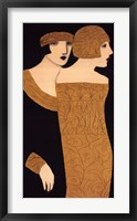 Framed Two Women in Gold Frocks