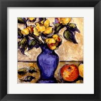 Framed Blue Vase Of Yellow Peonies