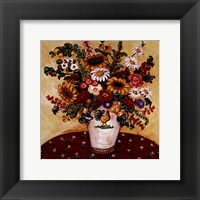 Rooster Vase Floral Framed Print