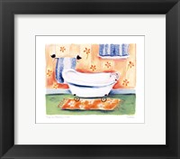Tub On Flowered Mat Framed Print
